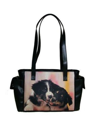 Fröhliche Border Collies Handtasche, Mario Moreno, Colorline, Smile-Bags, 30x19cm