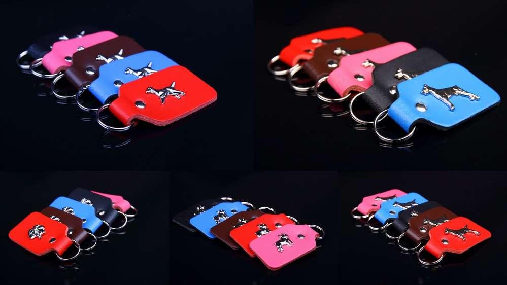 Schlüsselanhänger Leder mit verschiedenen  Hundemotive 8x4cm